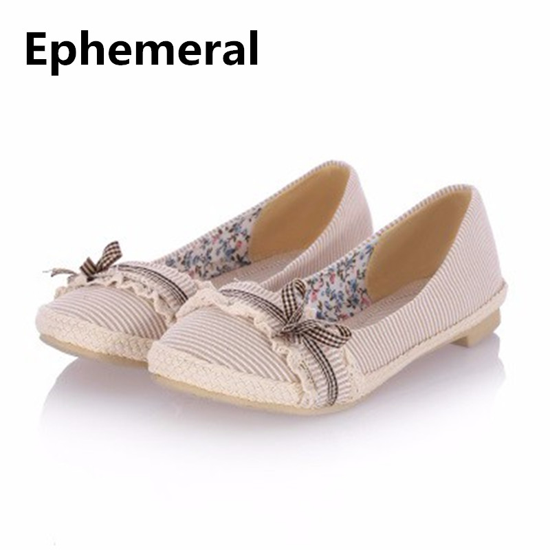 Ladies Lace Bow-Knot Larger size 34-45 Sweet Demin Cloth Flat loafers Shoes Round Toe Women Driving Slip-Ons pink ,Beige,Black цена