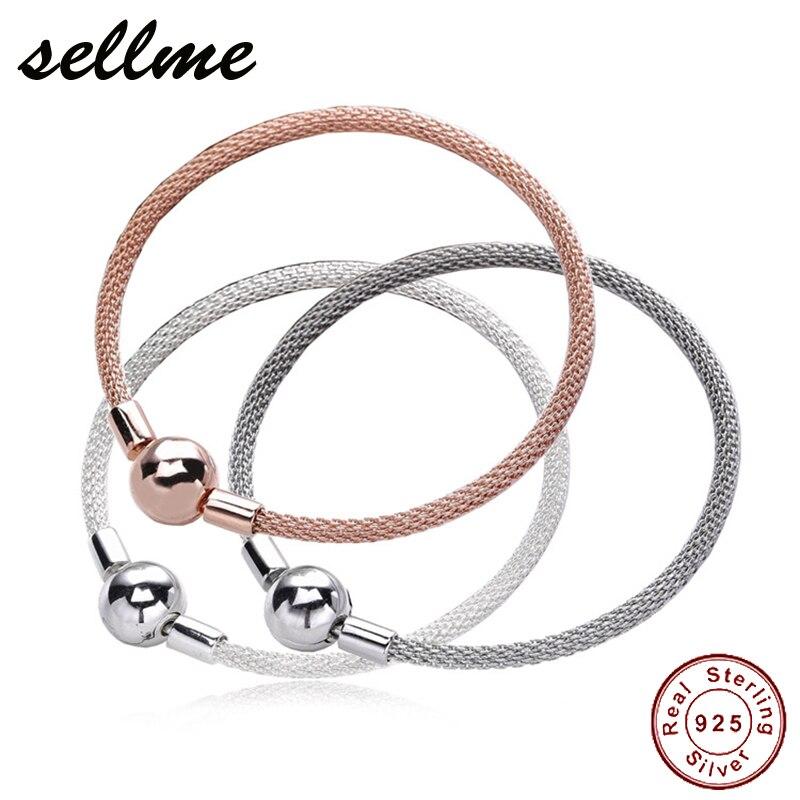 Authentic 925 Sterling Silver Mesh Bracelets Women Snake Chain Bracelet Sterling Silver Jewelry 925 sterling silver sparkling tennis bracelet chain strand bracelets for women luxury original sterling silver jewelry gxb029