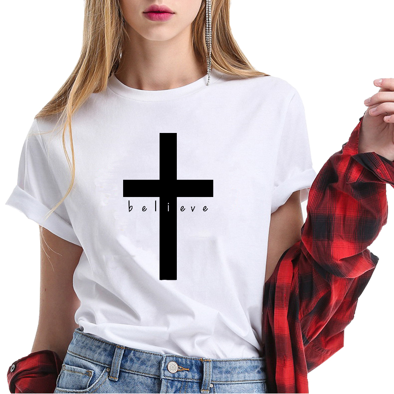 Christian T Shirt Frauen Druck Kreuz Lustige Sommer Tops Kurzarm Lose Fit Frauen T-shirt Glauben Kleidung Streetwear Marke