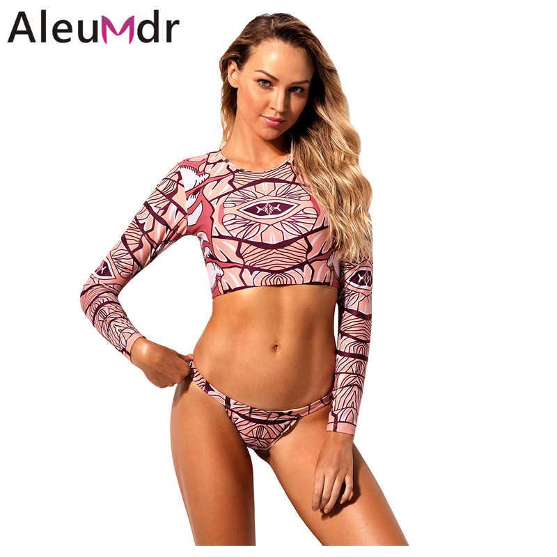 96fe69d369 Aleumdr bikinis set 2019 mujer Women Surf Swimwear African Print Long  Sleeve Crop Top Tankini 2pcs