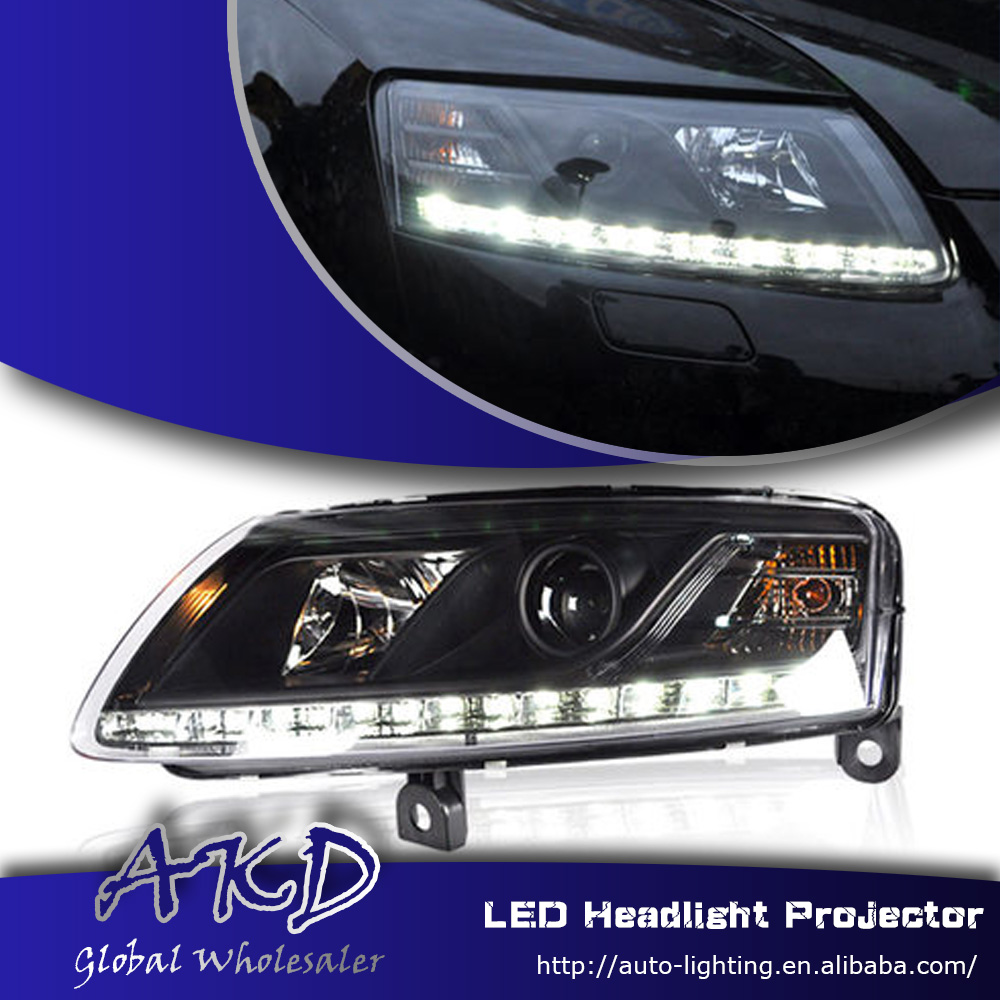 One stop shopping styling for audi a6 c5 headlights 2005 2008 a6 led headlight drl lens double beam h7 hid xenon car accessories in car light assembly from