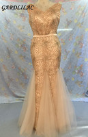 Plus Size Long Evening dresses 2019 Gold Mermaid Wedding Party Gown V Neck Maid of Honor Long Prom Gown With Belt