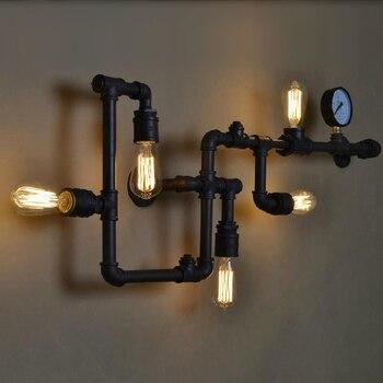 Ecolight Винтаж бра 5 свет e26 e27 розетки черный Живопись водопровод Утюг настенный светильник для исследование местный номер лофт свет