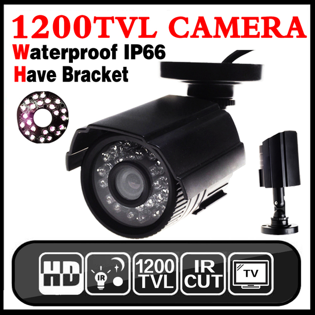 11.11 maior Venda 1200TVL pequeno Ao Ar Livre À Prova D' Água IP66 CCTV Cor De Segurança Mini HD Camera 24led IR infrared Night Vision Bracke