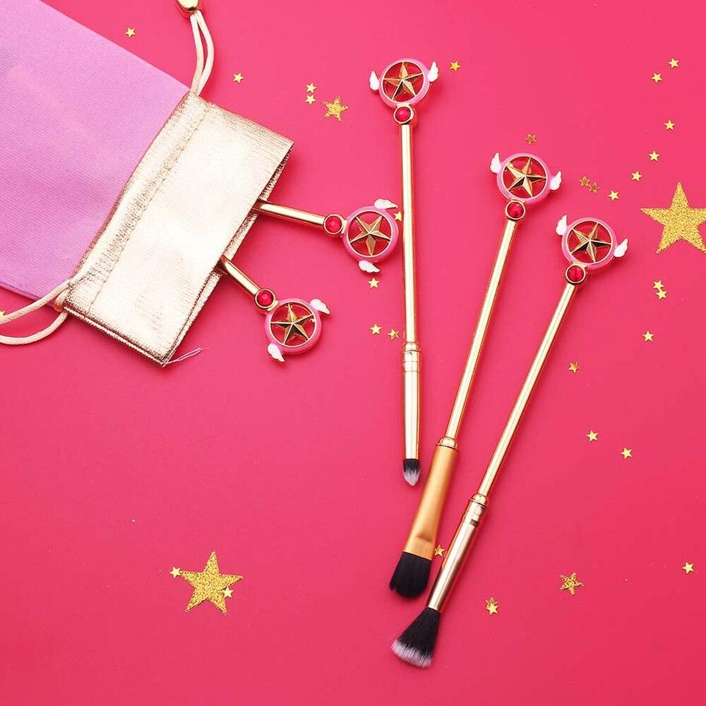 Free Shipping 5pcs/Set Anime Cardcaptor Sakura Sailor Moon Beauty Makeup/Cosmetic Brush Star Makeup Brush Cosplay Woman Gift