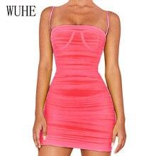 WUHE Summer Sexy Elegant Hollow Out Sleeveless Pleated Mini Dress Personality Slim Transparent Mesh Femme Vestidos