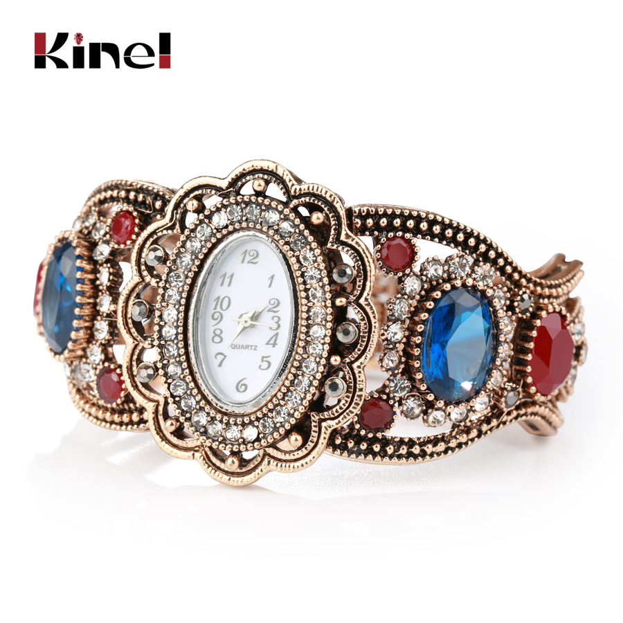 Kinel New Antique Watch Bracelet For Women Gold Color Hollow Crystal Flower Vintage Wedding Jewelry Christmas Gifts Wholesale
