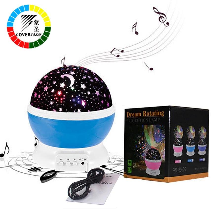 Coversage Spin Rotazione Musicale Proiettore di Luce di Notte Stellata del Padrone della Stella Capretti Dei Bambini Del Bambino di Sonno Romantico Led USB Lampada di Proiezione