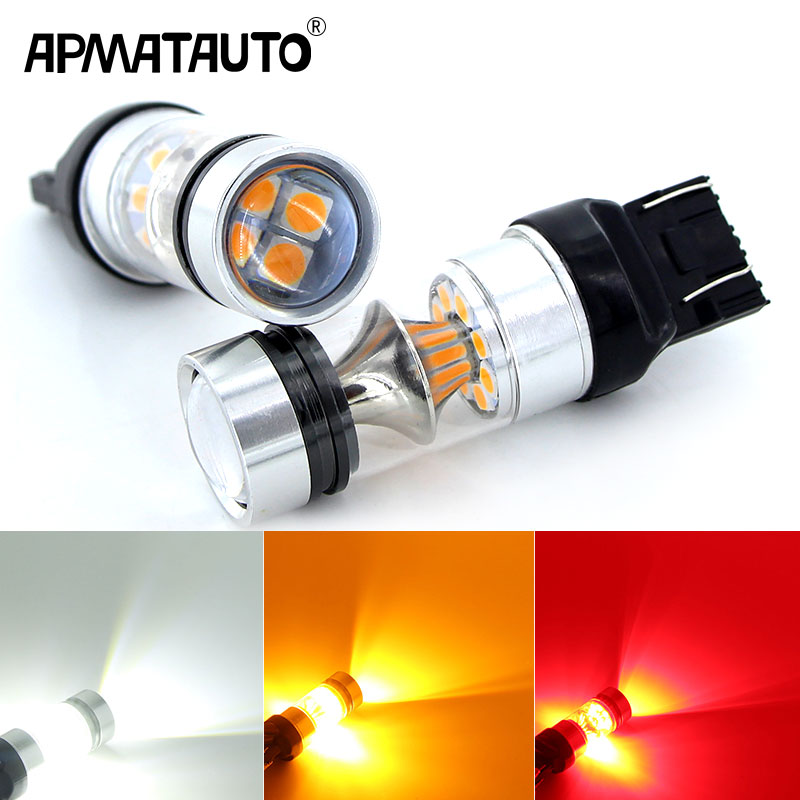 2X Red High Power 100W 3030 20SMD LED 7443 T20 7444NA LED Bulbs For Turn Signal Lights, Tail Lights, Brake Lights, Brilliant Red