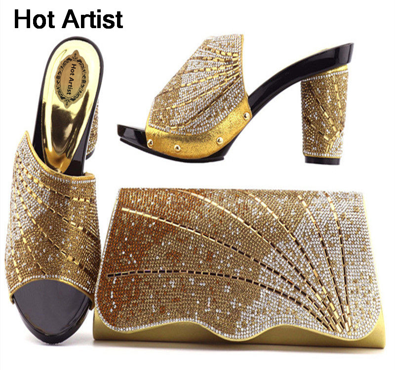 Hot Artist African PU Leather Flower Printed Ladies Shoes And Bag Set Fashion Ladies Wedges Heels And Bag Set For Party TX-1013 hot artist new fashion style ladies shoes and bag set africa high heels shoes and bag set for party free shipping tys17 20