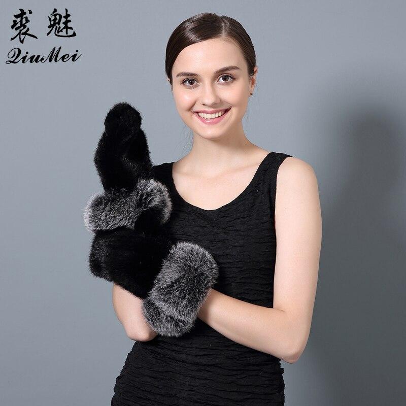 QiuMei date 2018 hiver gant femmes réel vison fourrure noir brun luxe russe élastique gant véritable vison fourrure gants & mitaines