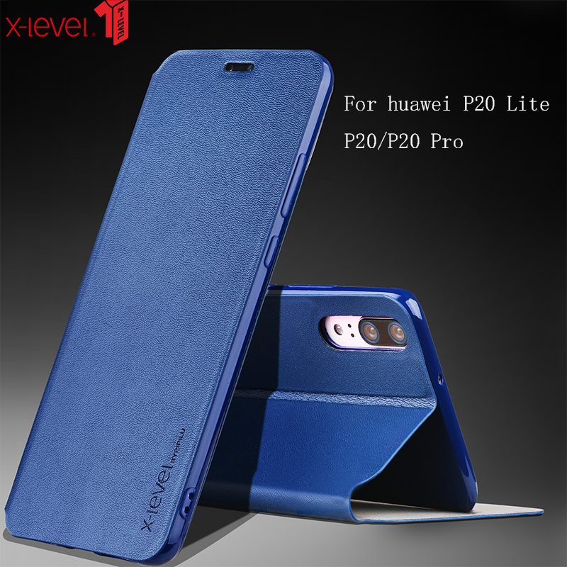X-Level Case For Huawei P20 Lite Pro Cases PU Leather Ultra Thin Silicone Edge 360 Protective Flip Cover Case For Huawei P20