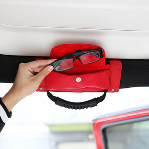 Image 4 - SHINEKA Car Roll Bar Grab Handle with Sunglasses Holder Storage Bag Armrest Pouch Bag Accessories for Jeep Wrangler CJ TJ JK JL