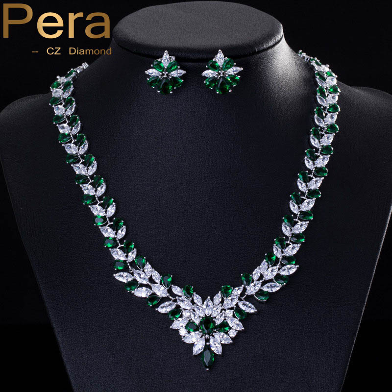 Pera CZ Classic Green Bridal Wedding Costume Jewelry African Nigerian Cubic Zircon Big Necklace And Earrings Sets For Women J038-in Bridal Jewelry Sets from ... & Pera CZ Classic Green Bridal Wedding Costume Jewelry African ...