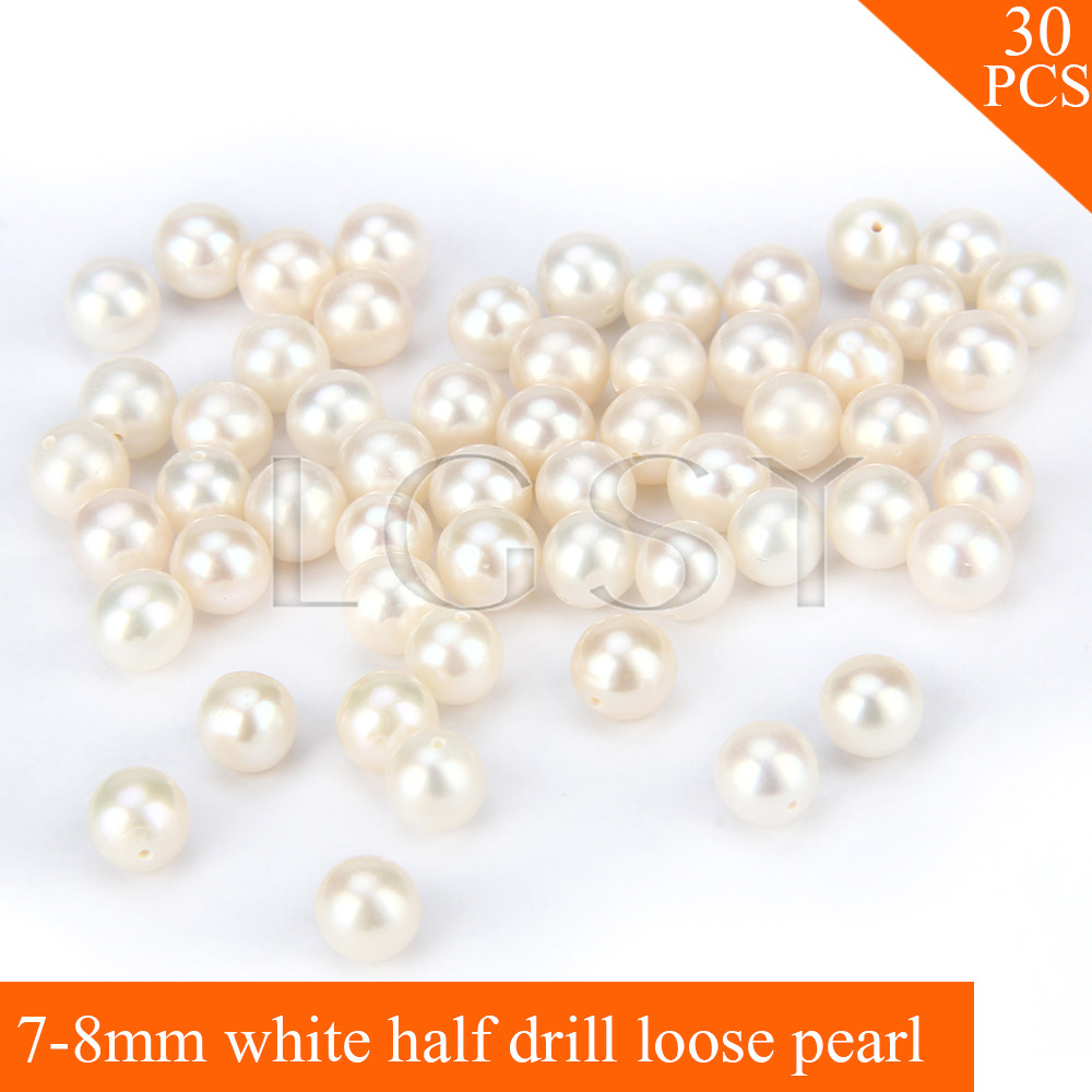 FREE SHIPPING, Beautiful 7-8mm AAA White saltwater half drill round akoya pearls 30pcs for fitting Jewelries free shipping imitation pearls chain flatback resin material half pearls chain many styles to choose one roll per lot