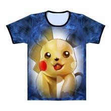 b57d40eff Pokemon Pikachu Raichu Split Mens T Shirt Charmander Charizard 3D Print Tee  Tops Women Men Short
