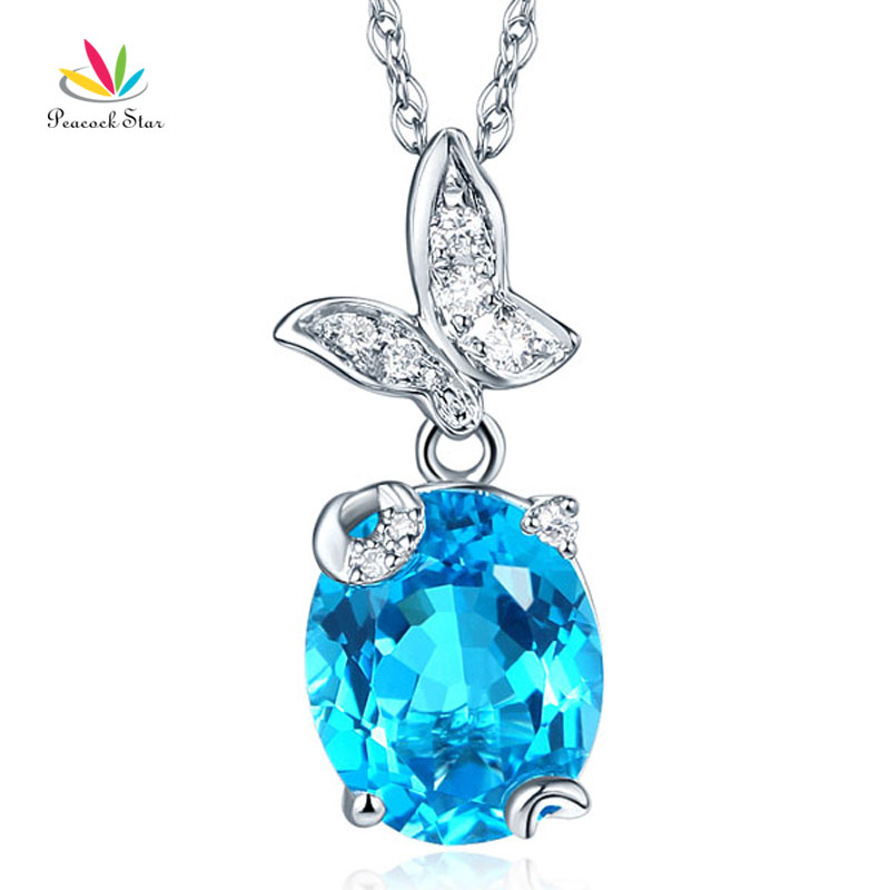 Peacock Star 14K White Gold 3. Ct Swiss Blue Topaz Butterfly Pendant Necklace 0.17 Ct DiamondPeacock Star 14K White Gold 3. Ct Swiss Blue Topaz Butterfly Pendant Necklace 0.17 Ct Diamond