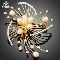 AZORA Fireworks Design Button Shaped Synthetic Pearl With Tiny Austrian Crystal Gold Plated Scarf Pins Brooches