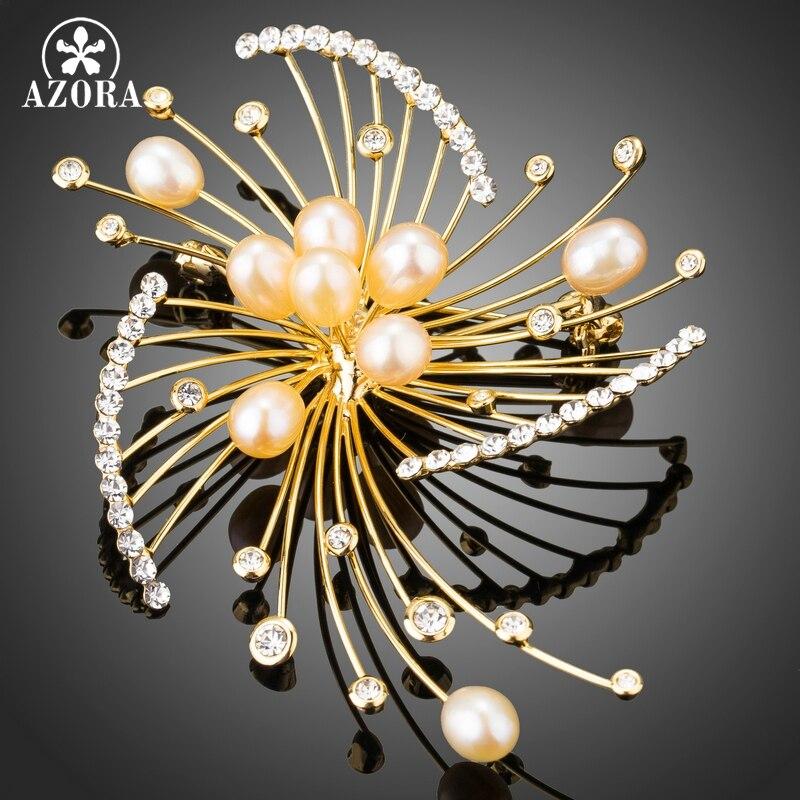 AZORA Feux D'artifice Conception Bouton En Forme de Perle D'imitation avec Minuscule Cristal Autrichien Or Couleur Écharpe Broches Broches Bijoux TP0046