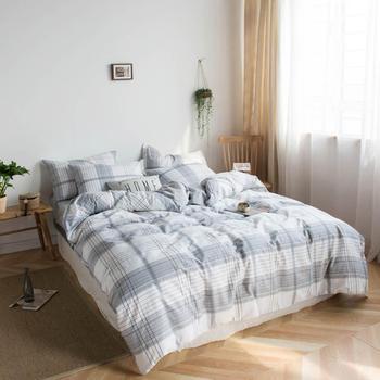 Graue Kingsize Betten   2019 Grau Weiß Plaids Streifen Bettdecke Bettbezug-set Baumwolle Bettwäsche Set Bedlinens Twin Königin König Flache Blatt Ausgestattet Blatt
