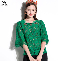 New Arrival 2017 Spring Summer Women S O Neck 3 4 Sleeves Beaded Appliques Lace Fashion