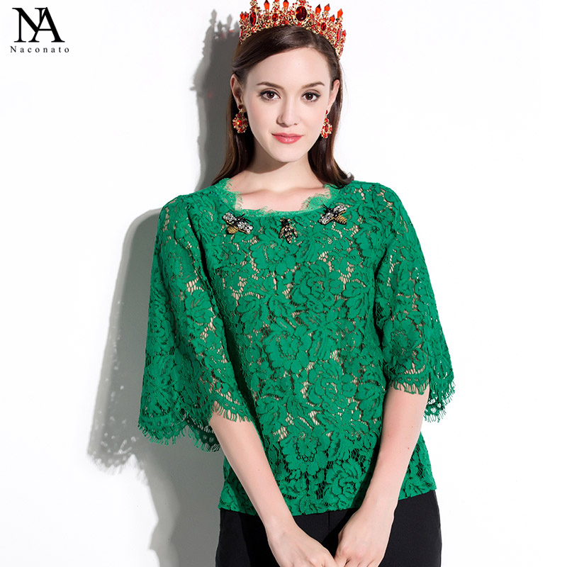 New Arrival 2018 Spring Summer Womens O Neck 3/4 Sleeves Beaded Appliques Lace Fashion Runway Lace Blouse Shirts
