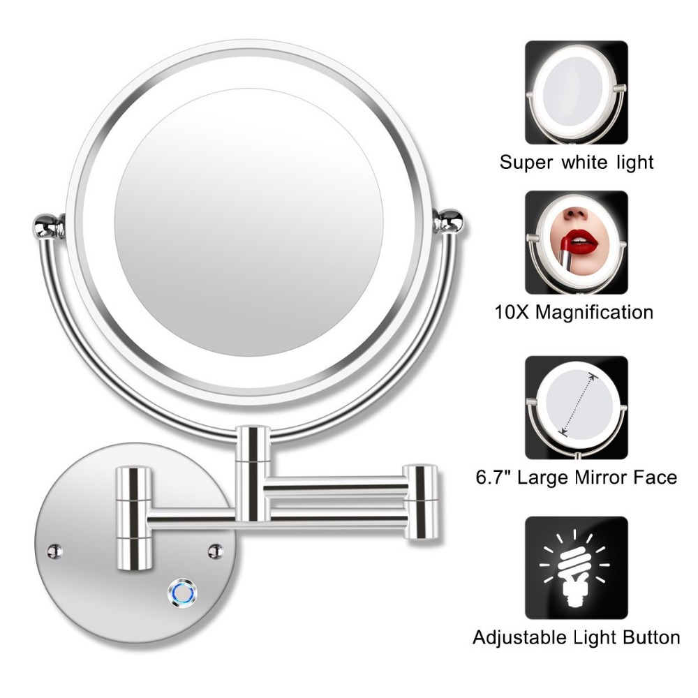 8 5 LED Double Sided Swivel Wall Mount Vanity mirror 10x Magnification 13 7 Extension Touch