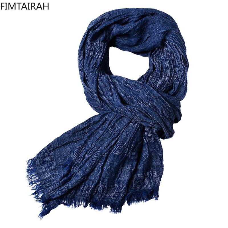 2019 New Hot Spring Men Scarf Fashion Shawls And Wraps Long Cotton Winter Warm Scarves For Gentlemen Tasstel Plian Weave Scarf Apparel Accessories