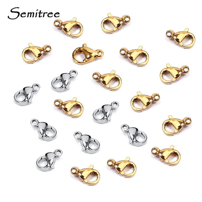 Semitree 25Pcs 9mm Stainless Steel small Lobster Clasps Hooks Bracelet Connectors for Jewelry Making Crafts Accessories Supplies