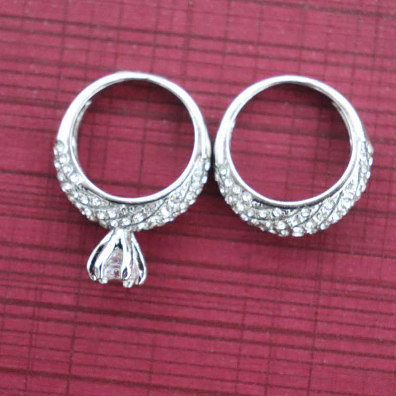 2019 Fashion 2Pcs Wedding Rings Set for Women Girls Silver Filled Crystal Zircon Couple Finger Engagement Ring Jewelry Size 6-10