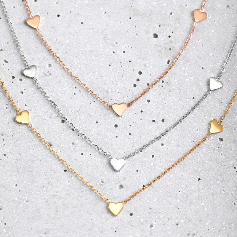Mavis Hare Die Multi Herz Halsband Halskette in 5 stücke Nette liebe Herz Charme 35 + 5 cm 316L Edelstahl stahl Halsband Kette für Frauen