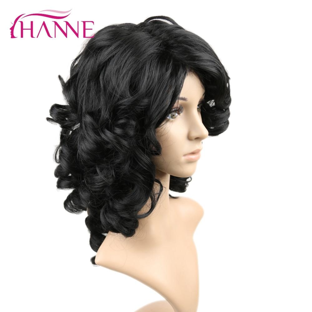 HANNE Medium Length Fake Hair Wigs Heat Resistant Synthetic Hair Loose wave Black Hair Wigs For Black Women African Hairstyle