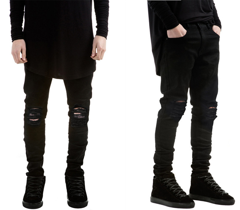 Men Brand Skinny Jeans 2015 Runway Destroyed Denim Biker jeans Hip Hop Pants Washed Black Jeans