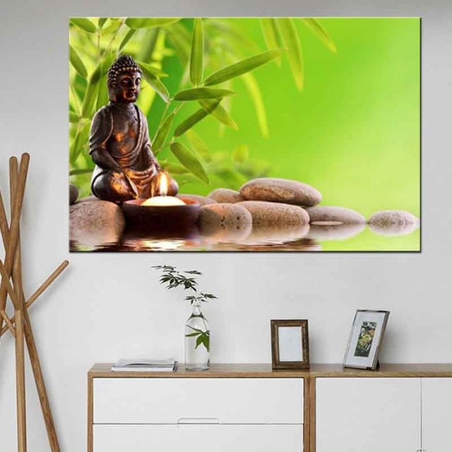 € 7.03 35% de réduction|Bouddha de grande taille avec toile de bambou  impression peinture Zen méditation dieu œuvre photo pour salon décoration  murale ...