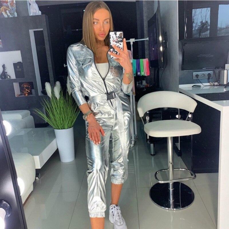 Streetwear Bodycon Sexy Silver   Jumpsuit   for Women 2019 Autumn Winter Zipper Long Sleeve Romper Womens   Jumpsuit   Female Overalls