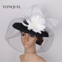 Fascinator Hats for Women Winter Veils Imitation linen Pillbox Hat for Cocktail Wedding Party Hats floral feather Dress Fedoras