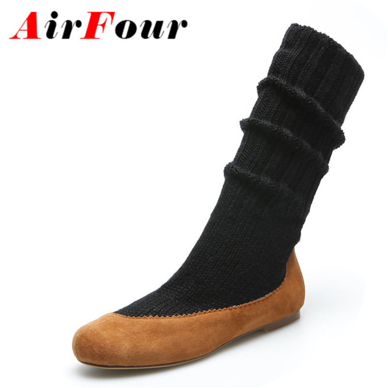 ФОТО Airfour New Black Shoes Woman Round Toe Slip-on Spring and Autumn Mid-calf Boots for Women Flats Casual Fashion Boots Size 34-39
