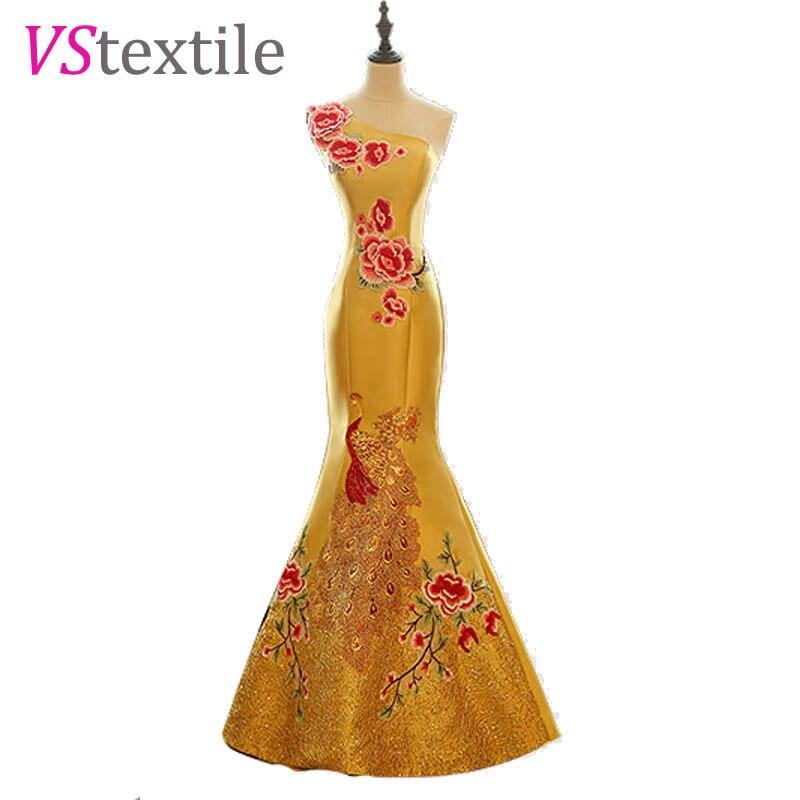 Une épaule paon sirène robes de soirée 2019 or robes de soirée formelles robe de soirée taille 0 personnalisé faire livraison gratuite