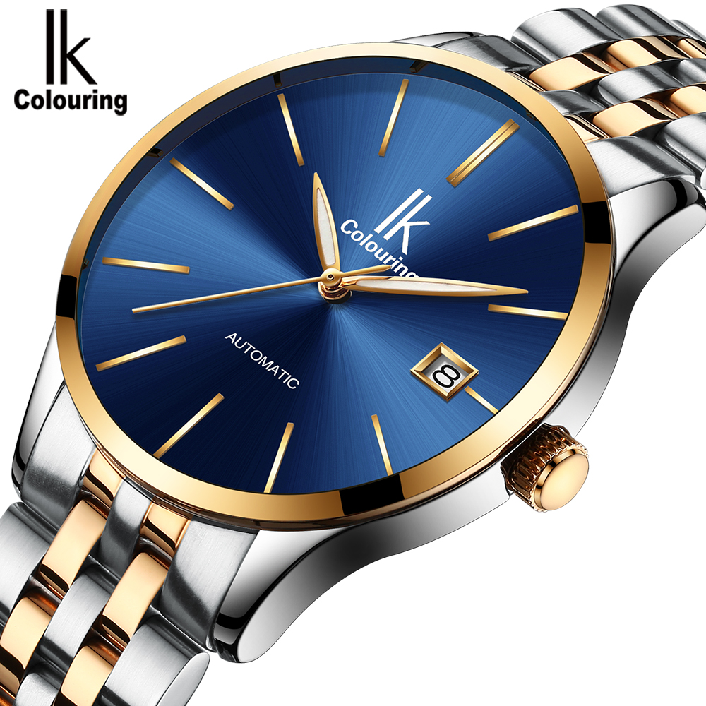 IK Colouring Men's Luxury Stainless Steel Business Wristwatch Auto Date Mechanical Male Dress Watch Orologio Automatico 40mm