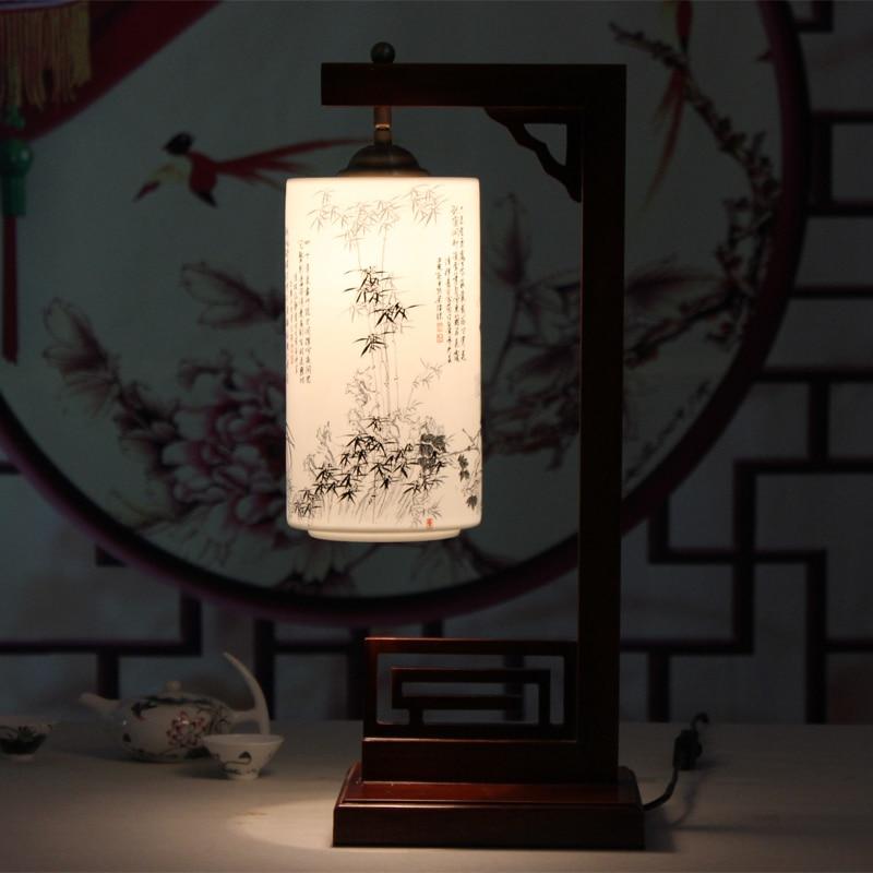 Твердой древесины Новый китайский стиль Ретро настольные лампы спальня ночники LED гостиная исследования свет стол za1127137