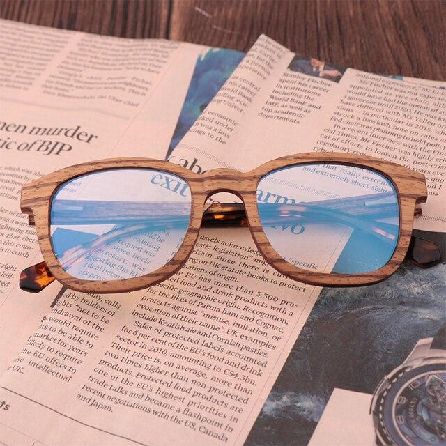 جديد ريترو ساندويتش الخشب نظارات الرجال اليدوية بحتة موضة الأزرق عدسات إضاءة واقية من الإشعاع النظارات الشمسية استبدال عدسة