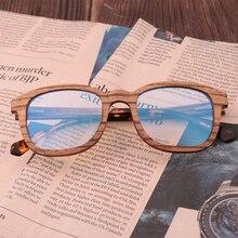 Nowy Retro Sandwich drewniane okulary czysto Handmade moda męska niebieski obiektyw światła odporne na promieniowanie okulary przeciwsłoneczne wymienne soczewki