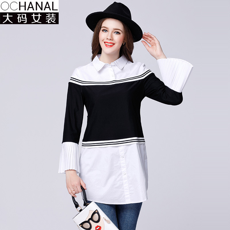 Oversize shirts women 2017 spring New turn down collar patchwork cotton shirt pleated flare sleeve false