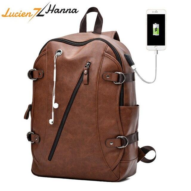 Fashion Men Backpack External USB Charging Port Waterproof Laptop Backpack PU Leather Travel Bag Casual School Bag For Teenagers