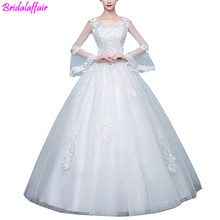 Customer Made White Ivory Tulle Long Flare Sleeve Wedding Dresses Simple Applique Corset Dress Gowns Robe De Mariage