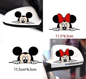 Image 2 - Bonita y divertida caricatura de Mickey y Minnie, calcomanías adhesivas para coche, espejo retrovisor del coche, parachoques, cuerpo, cabeza, estilo creativo, patrón de vinilo