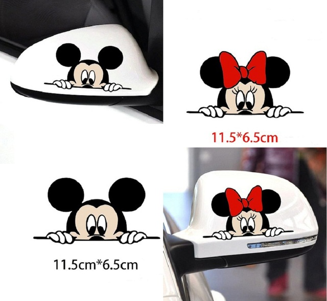 Funny Car Sticker Cute Mickey Minnie Mouse Peeping Cover Scratches Cartoon Rearview Mirror Decal For Motorcycle