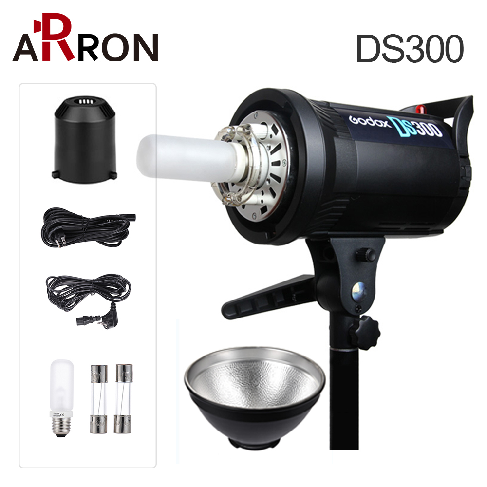 ARron <font><b>Godox</b></font> DS300 <font><b>300</b></font> W Studio Photography Pro Stroboscope Flash Cap Lamp 220 V 110 V Free Shipping image