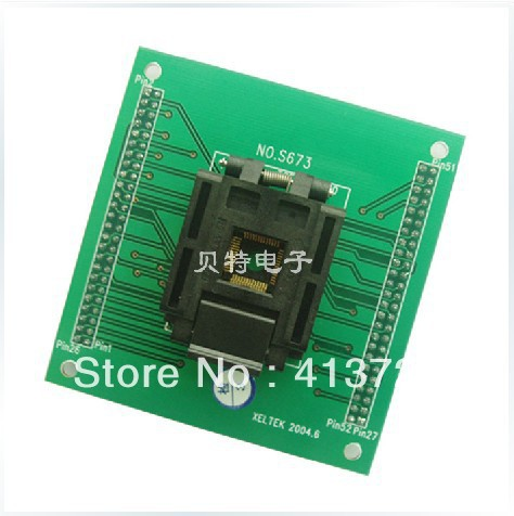 Importing IC QFP52 programming block, S673 block burning test socket adapter, convert original plcc44 to dip40 block adapter block cnv plcc mpu51 test convert burn