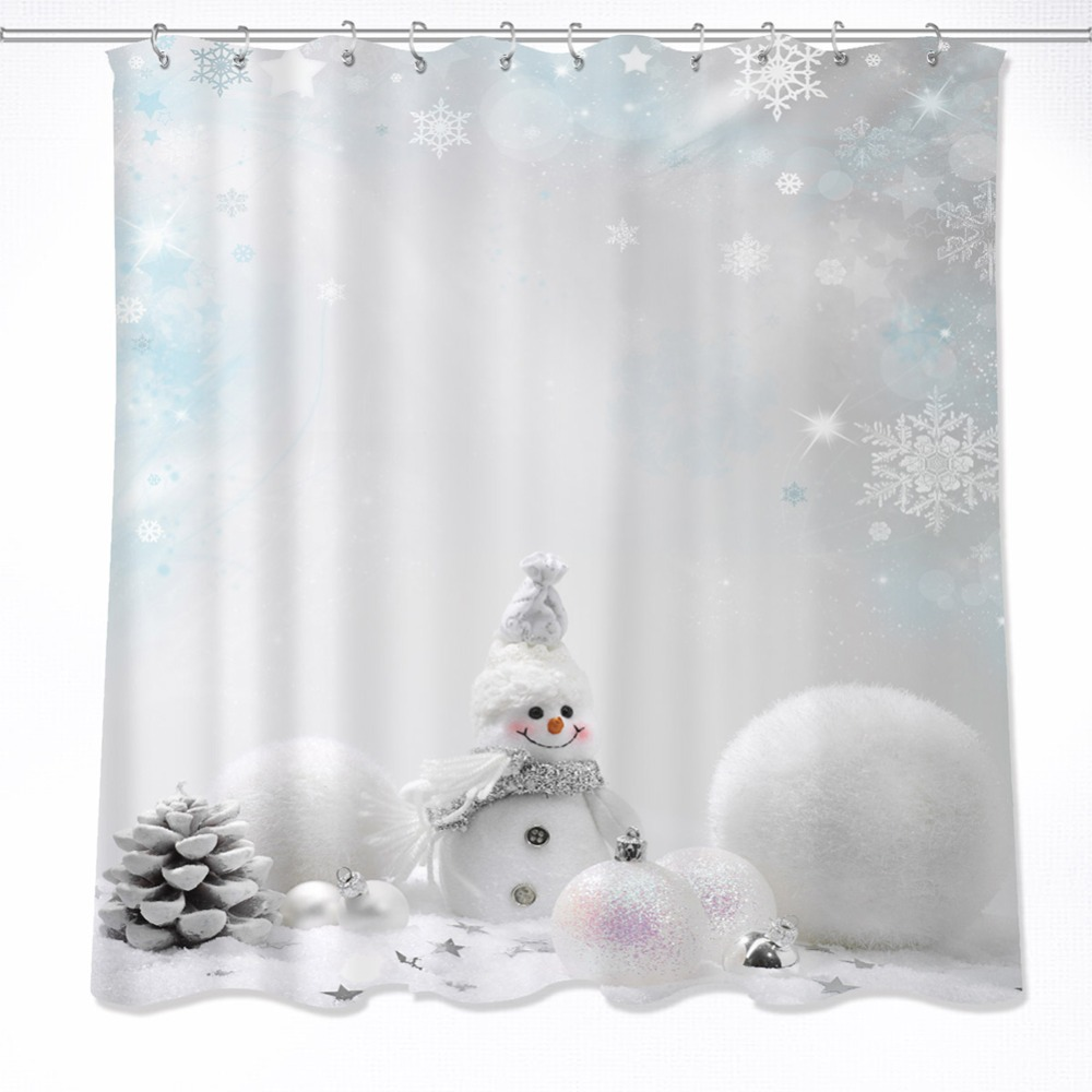 72'' White Snowflake Snowman Christmas Balls Bathroom Waterproof Fabric Shower Curtain Polyester 12 Hooks Bath Accessory Sets